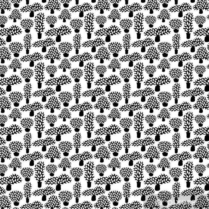Vinylová tapeta na míru Vektorové černé a bílé bezproblémové vzorek s rukou vypracován doodle stromů. Abstraktní podzimní pozadí přírody. Design pro tkaniny, textilní pádě tisky, balicí papír. - Rostliny a květiny