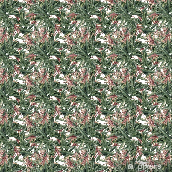 Watercolor painting of leaf and flowers, seamless pattern Self-adhesive custom-made wallpaper - Hobbies and Leisure