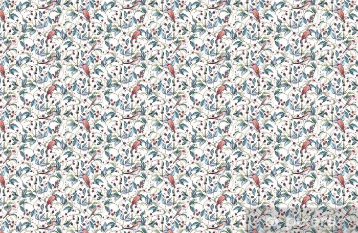 Tapeta na wymiar winylowa Ręcznie rysowane akwarela bezszwowe wzór z naturalnych motywów: oddziałów jeżyny, liści, jagody i dzikiego ptactwa - zięby. powtórzone tło, wydrukuj tekstylia i tapety - Rośliny i kwiaty