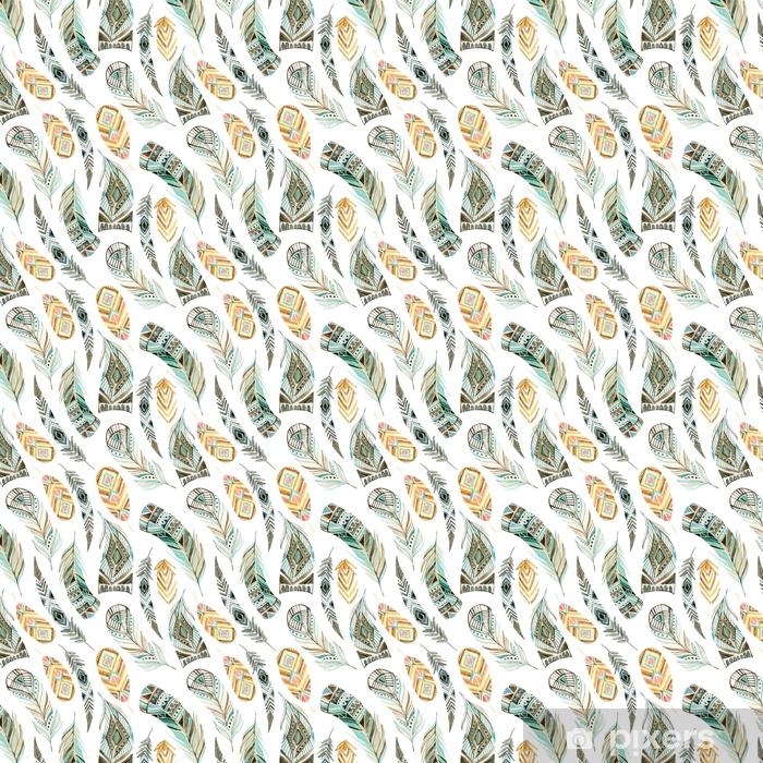 Zelfklevend behang, op maat gemaakt Aquarel etnische veren naadloze patroon - Grafische Bronnen