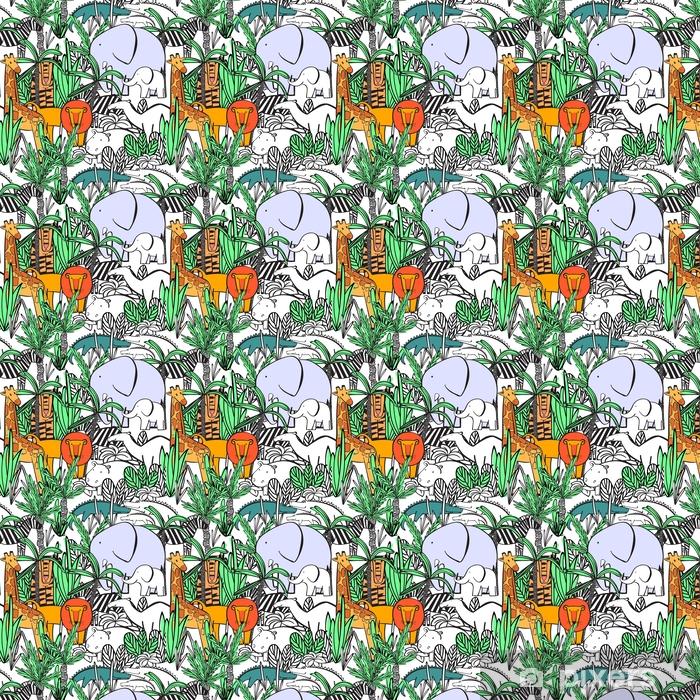 Vinyl behang, op maat gemaakt Naadloze patroon met wilde dieren van de jungle struikgewas: olifant met olifant, zebra, kameel, tijger, leeuw, giraffe, krokodil, nijlpaard. kleuren, tekenen behang. vectorillustratie - Dieren