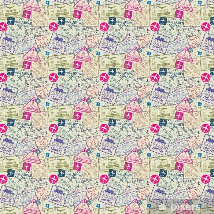 Papier peint autocollant sur mesure Modèle sans couture de vecteur avec des timbres de visa de passeport - Ressources graphiques