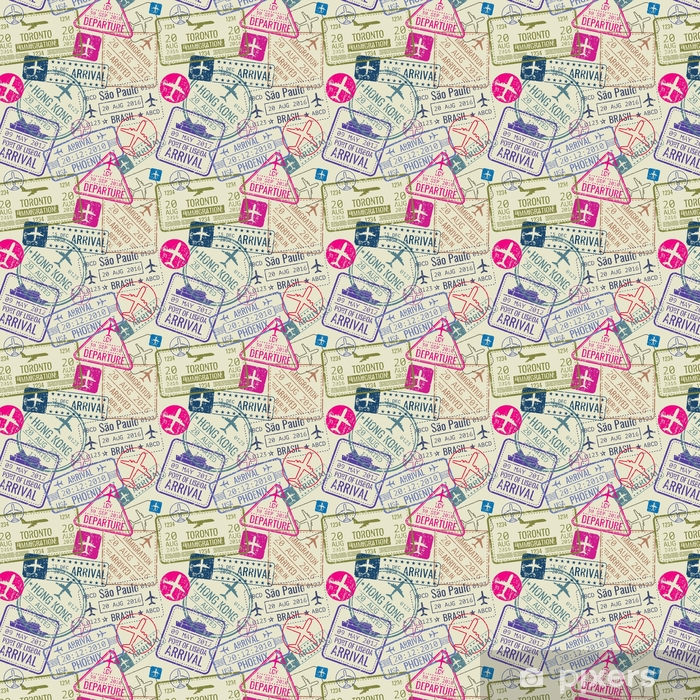 Vector seamless pattern with passport visa stamps Vinyl custom-made wallpaper - Graphic Resources