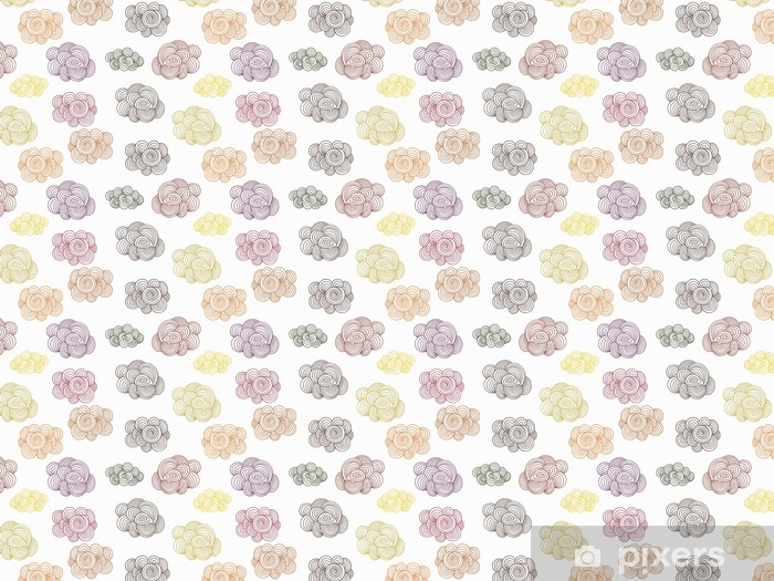 Vector Seamless Pattern with Autumn Doodle Clouds Vinyl Custom-made Wallpaper - Autumn