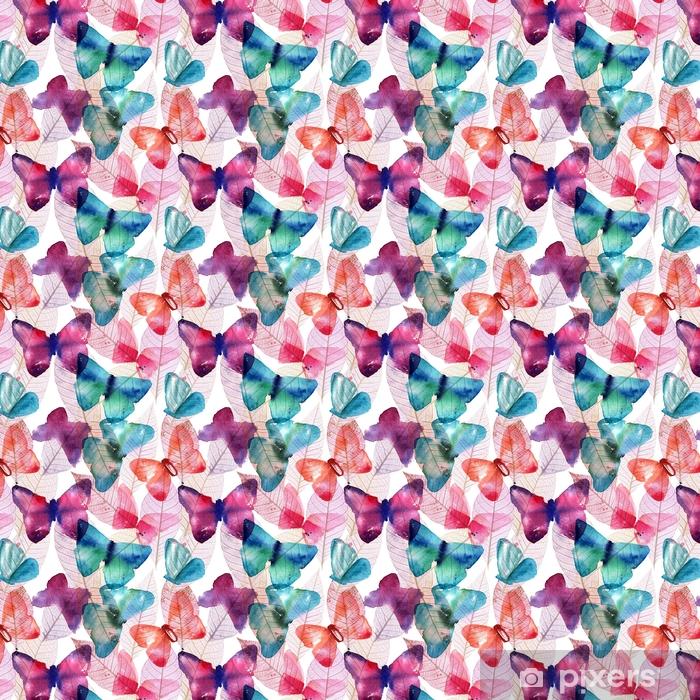 Vinyl behang, op maat gemaakt Naadloze patroon met freehand aquarel vlinders en skele - Grafische Bronnen