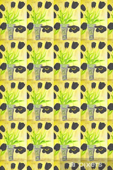 Papier peint vinyle sur mesure Peinte à la main de l'image, tulipes dans vase - Plantes et fleurs