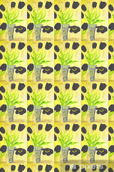 Hand painted picture, tulips in vase Vinyl custom-made wallpaper - Plants and Flowers
