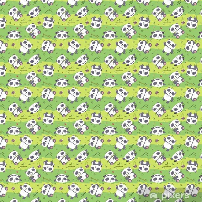 vector cartoon panda seamless pattern Vinyl custom-made wallpaper - Animals