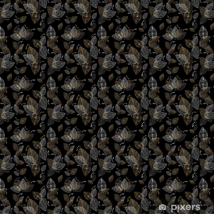 Gold hand drawn fall leaves seamless pattern Self-adhesive custom-made wallpaper - Graphic Resources
