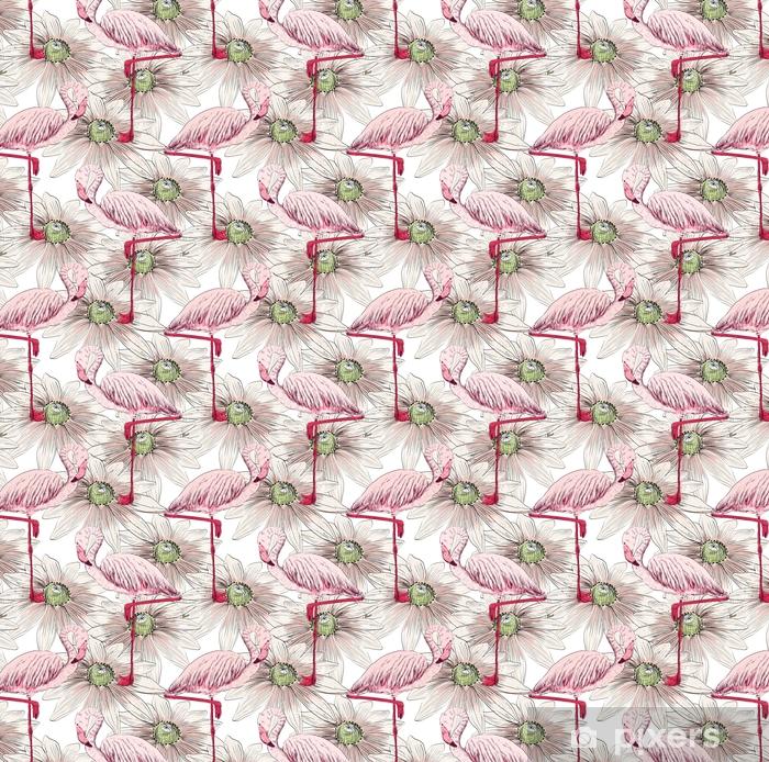 Carta da parati in vinile su misura Schizzo vettoriale di un fenicottero con fiori. illustrazione disegnata a mano - Animali