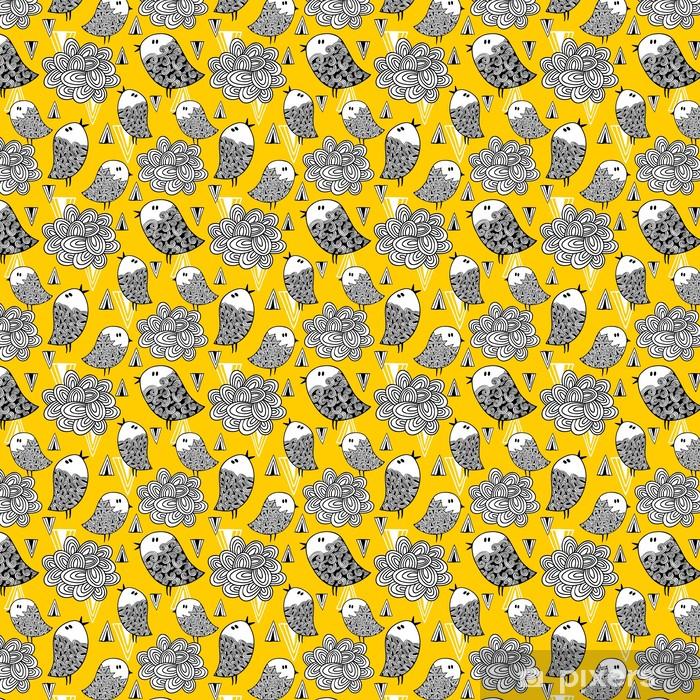 Tapeta na wymiar winylowa Kreacja doodle szwu z ptaków i elementów konstrukcyjnych. - Zasoby graficzne