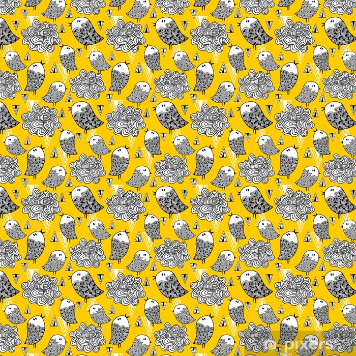 Creative seamless pattern with doodle bird and design elements. Vinyl Custom-made Wallpaper - Graphic Resources