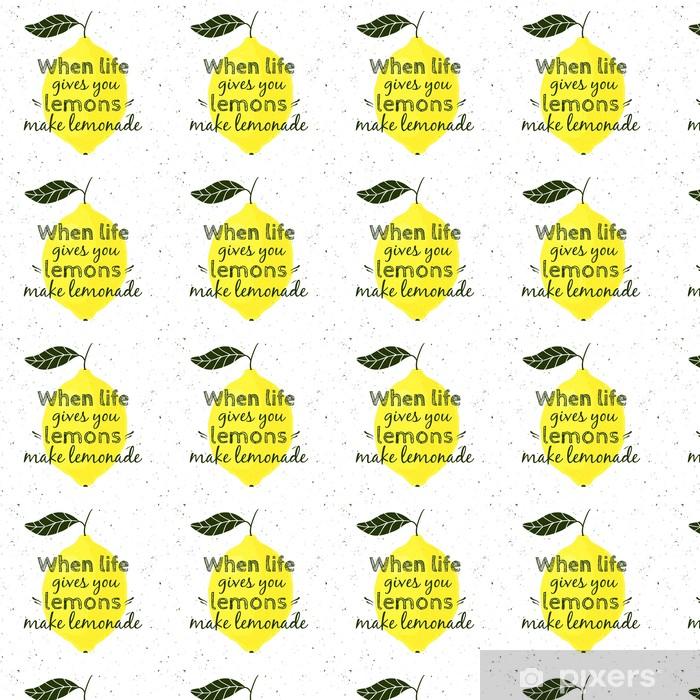 """Tapeta na wymiar winylowa Ilustracji wektorowych z cytryny i cytatem motywacyjnych """"Kiedy życie daje ci cytryny, zrób z nich lemoniadę"""". Typograficzny plakat do druku, koszulki, kartki z życzeniami. - Zasoby graficzne"""