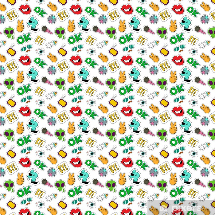 Fun hand drawn patch icon seamless pattern Vinyl custom-made wallpaper - Graphic Resources