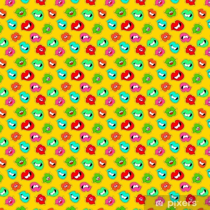 Vinyltapete nach Maß Hand gezeichnete Mädchen Mund Patch Symbol nahtlose Muster - Grafische Elemente