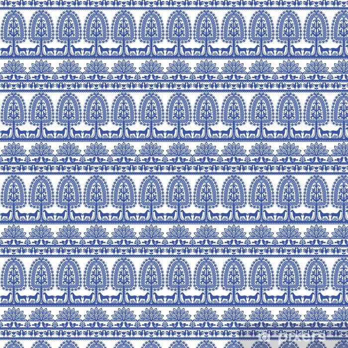 Vinylová tapeta na míru Bezešvé květinovým Polská lidová tvorba vzor Wycinanki Kurpiowskie - Kurpie Papercuts - Grafika
