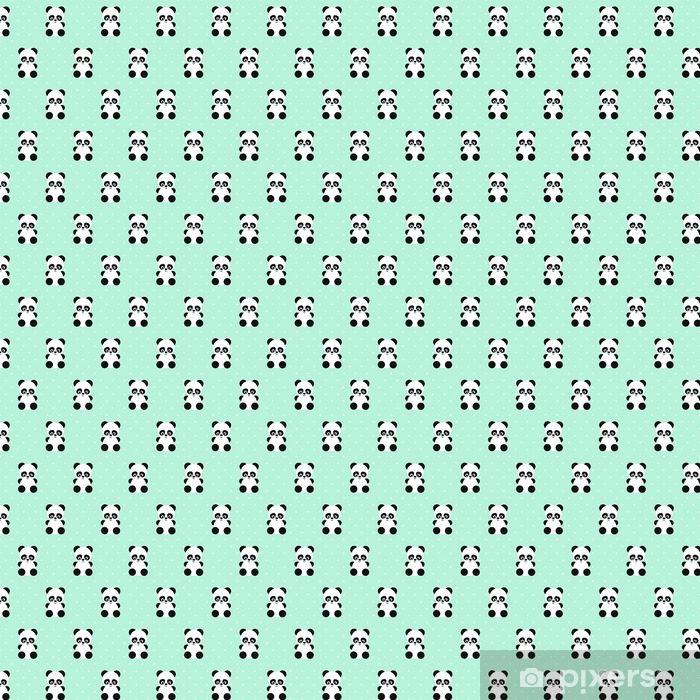 Panda seamless pattern on polka dots green background. Cute design for print on baby's clothes