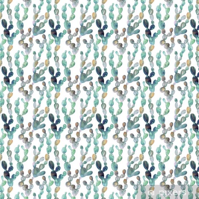 Kaktuskuvio akvarellityylissä Räätälöity vinyylitapetti - Flowers and plants