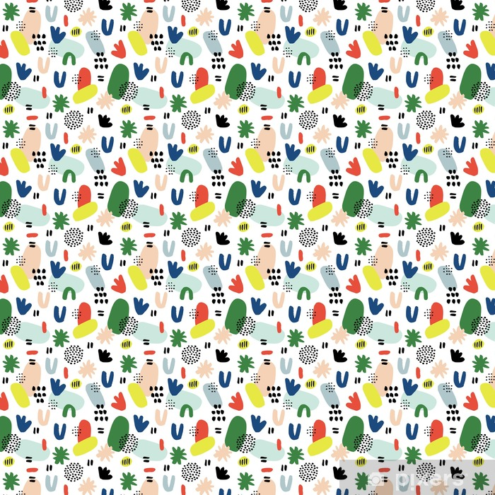 Hand drawn seamless pattern in modern style. Design for poster, card, invitation, placard, brochure, flyer, textile. Vinyl custom-made wallpaper - Graphic Resources