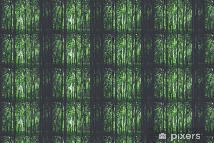 Papier peint vinyle sur mesure Forêt fond vert - Détente