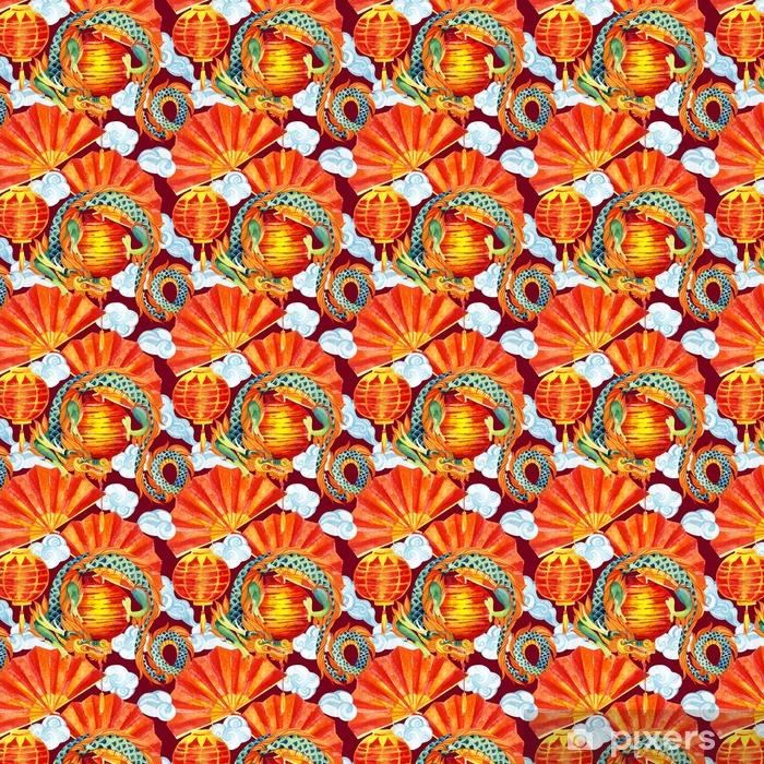 Zelfklevend behang, op maat gemaakt Chinese Draak aquarel naadloos patroon. - Reizen