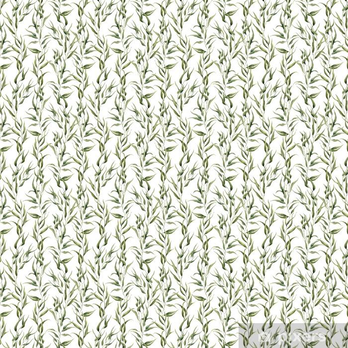 Papel pintado estándar a medida Modelo floral verde de la acuarela transparente con hojas de eucalipto. modelo pintado a mano con ramas y hojas de eucalipto aisladas sobre fondo blanco. Para el diseño o el fondo - Plantas y flores