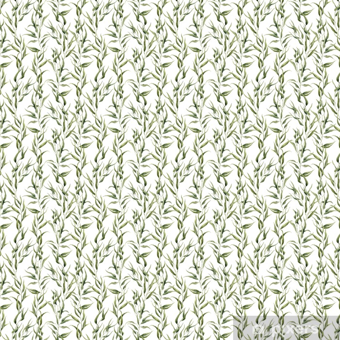 Watercolor green floral seamless pattern with eucalyptus leaves. Hand painted pattern with branches and leaves of eucalyptus isolated on white background. For design or background Vinyl custom-made wallpaper - Plants and Flowers