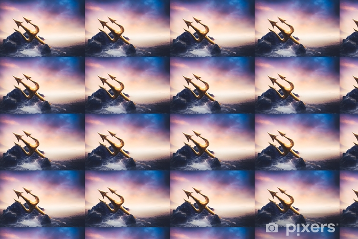High Contrast Image Of Poseidon S Trident At Sea Wallpaper Vinyl Custom Made