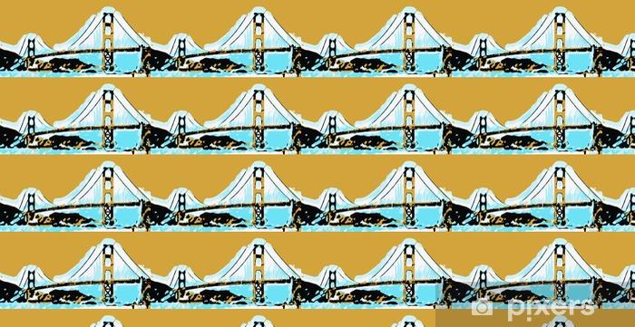 Papier peint vinyle sur mesure Golden Gate Bridge de San Francisco avec coucher de soleil ciel - Voyages