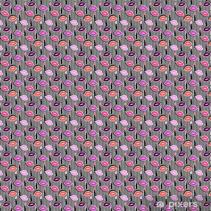 Carta da parati in vinile su misura Modello senza saldatura con colorate le labbra forma distintivo e il rossetto su sfondo nero a strisce. illustrazione vettoriale con labbra adesivi in cartoni animati anni '80 -'90 stile comico. - Risorse Grafiche