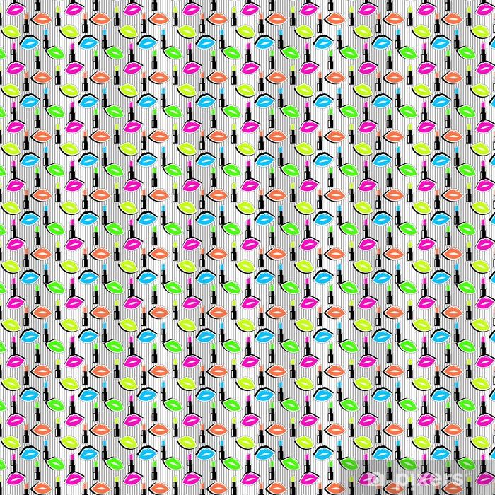 3781dd7d Spesialtilpasset vinyltapet Seamless mønster med fargerike merket form  lepper og leppestift på svart stripet bakgrunn.