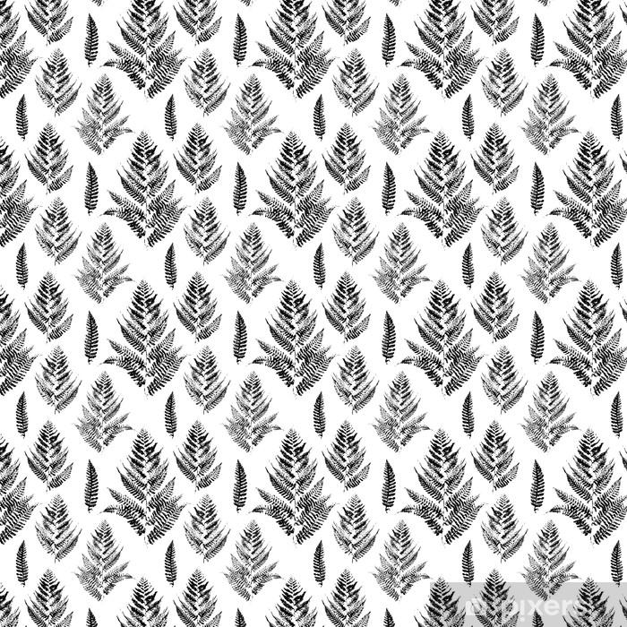 Vinyl behang, op maat gemaakt Naadloos patroon met verf afdrukken van varenbladeren - Industrieel