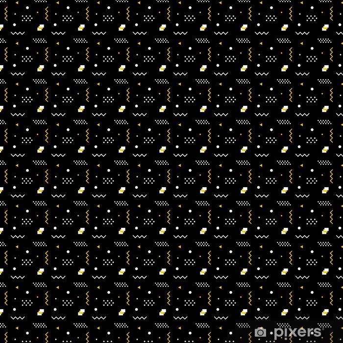 Papel pintado estándar a medida Las formas geométricas moderno, de moda sin problemas de fondo minimalista en colores blanco, negro y dorado. - Recursos gráficos