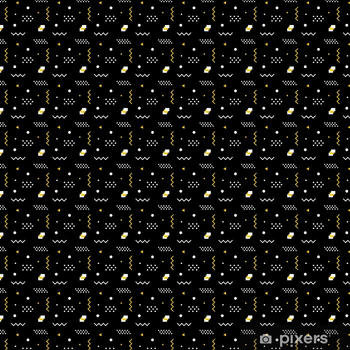 Geometric shapes modern, trendy minimalistic seamless pattern background in white, black and golden colors. Vinyl Custom-made Wallpaper - Graphic Resources