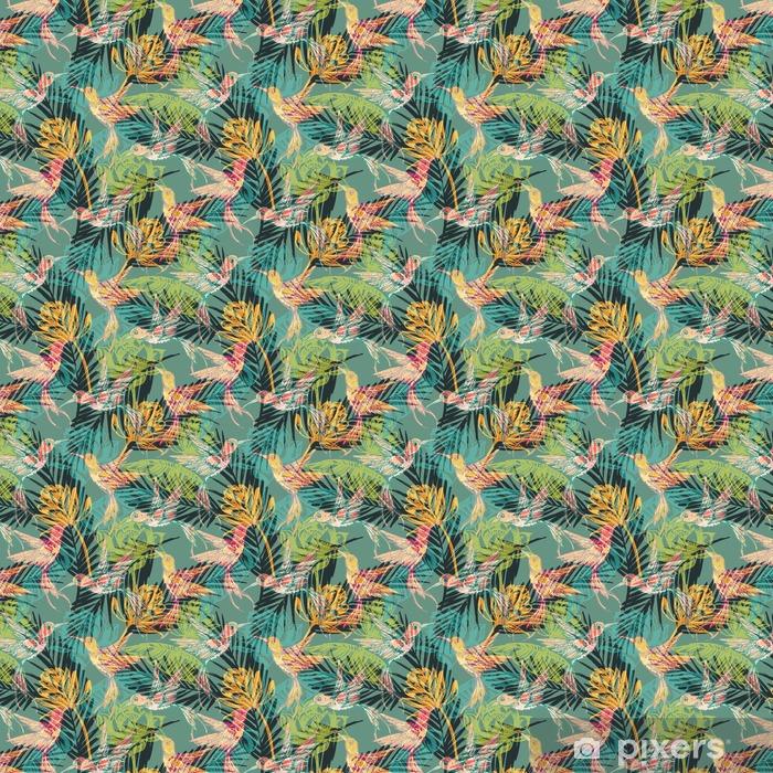 Vinyl behang, op maat gemaakt Naadloos exotische patroon met abstracte palmbladeren en colibri. - Grafische Bronnen