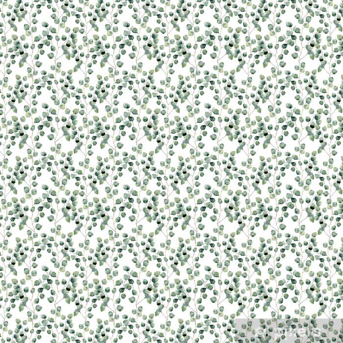 Vinyl behang, op maat gemaakt Waterverf het groene bloemen naadloze patroon met eucalyptus rond blad. Met de hand geschilderd patroon met takken en bladeren van de zilveren dollar eucalyptus op een witte achtergrond. Voor het ontwerp of de achtergrond - Bloemen en Planten