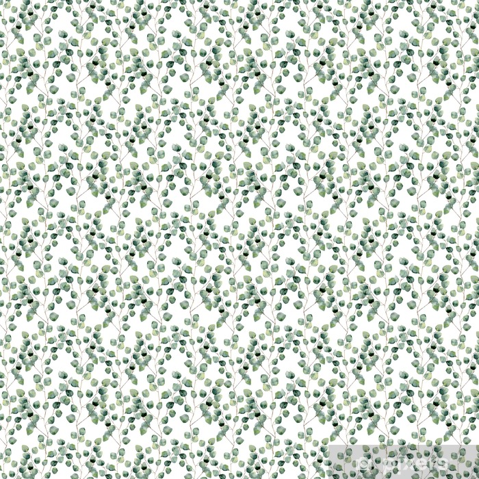 Watercolor green floral seamless pattern with eucalyptus round leaves. Hand painted pattern with branches and leaves of silver dollar eucalyptus isolated on white background. For design or background Vinyl Custom-made Wallpaper - Plants and Flowers