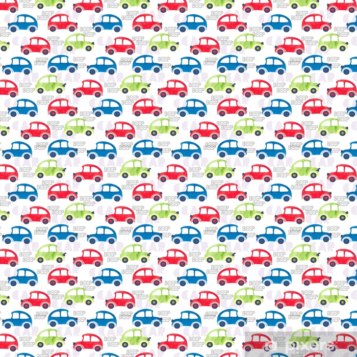 Seamless pattern with colorful watercolor cars. Vector background, suitable for kids textile, fabric, wallpaper, wrapping. Vinyl custom-made wallpaper - Graphic Resources