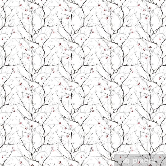 Tapeta na wymiar winylowa Akwarela bezszwowe wzór z gałęzi i jagód i oddziałów cień, na białym tle. - Zasoby graficzne
