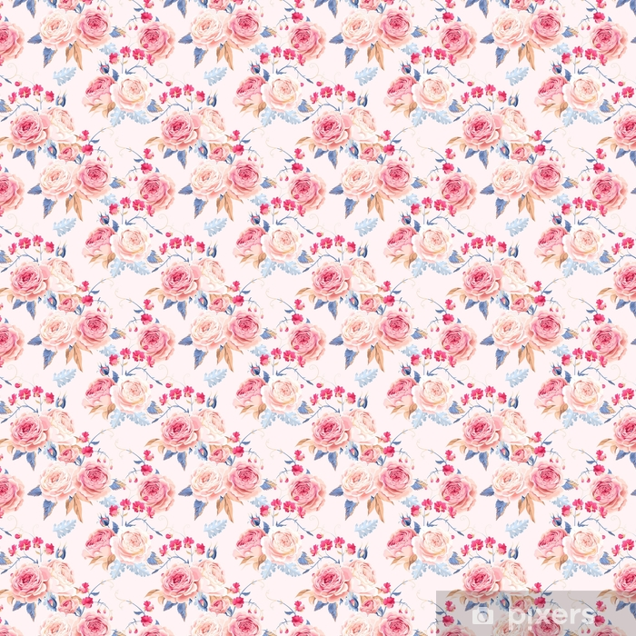 Seamless vintage roses Self-adhesive custom-made wallpaper - Plants and Flowers