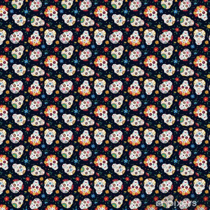 Tapeta na wymiar winylowa Dzień zmarłego kwiatowy wzór tła czaszki - Zasoby graficzne