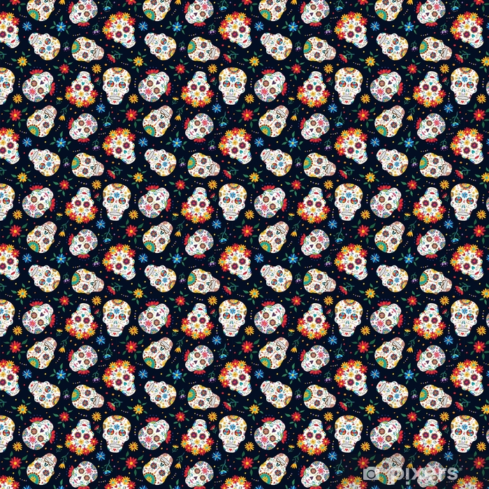 Day of the dead floral skull pattern background Vinyl custom-made wallpaper - Graphic Resources