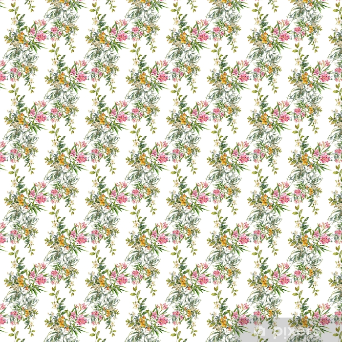 Zelfklevend behang, op maat gemaakt Waterverf schilderij van blad en bloemen, naadloos patroon op een witte achtergrond - Hobby's en Vrije tijd
