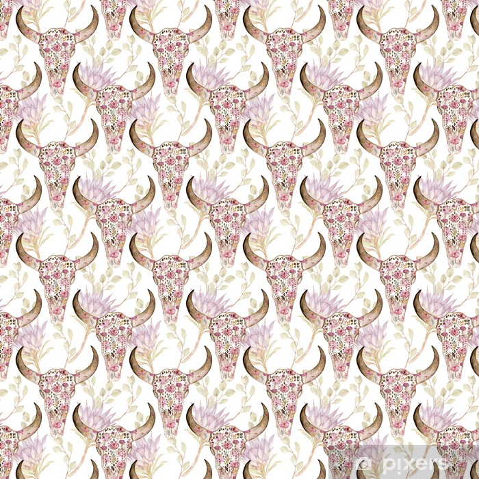 Watercolor seamless pattern with skull in flowers, protea. Floral decoration, vector illustration Vinyl custom-made wallpaper - Graphic Resources