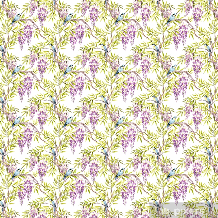 Seamless pattern with wisteria. Hand draw watercolor illustration Self-adhesive custom-made wallpaper - Plants and Flowers