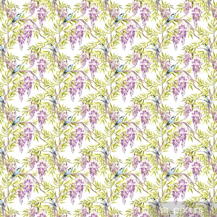 Zelfklevend behang, op maat gemaakt Naadloze patroon met blauweregen. hand tekenen aquarel illustratie - Bloemen en Planten