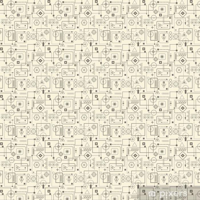 Mechanical seamless pattern 2.3 Retro background. Vinyl custom-made wallpaper - Graphic Resources