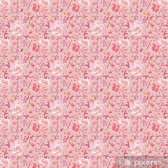 Vinyl behang, op maat gemaakt Roze naadloze textuur met antiek motief en rozen. aquarel p - Grafische Bronnen