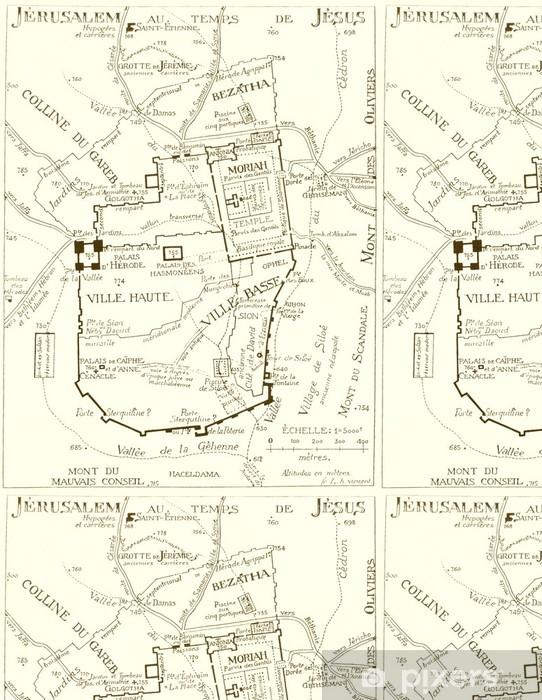 Vinylová Tapeta Starožitný Jerusalem mapa - Střední Východ