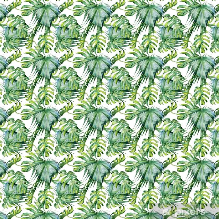 Selbstklebende Tapete nach Maß Nahtlose Aquarellillustration von tropischen Blättern, dichter Dschungel. handgemalt. Banner mit tropischem Sommerzeitmotiv kann als Hintergrundtextur, Geschenkpapier, Textil- oder Tapetendesign verwendet werden. - Pflanzen und Blumen